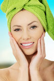Beauty woman with turban towel. royalty free stock photography