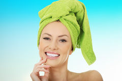 Beauty woman with turban towel. royalty free stock image