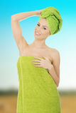 Beauty woman with turban towel. stock images