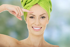 Beauty woman with turban towel. stock photography