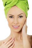 Beauty woman with turban towel. Stock Image