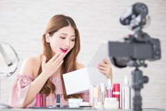Woman unbox in live stock photography