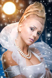 Beauty woman  under moon Royalty Free Stock Image