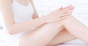 Woman use cream Royalty Free Stock Photo