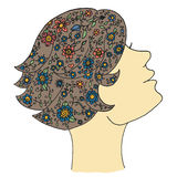 Beauty woman vector. Zen tangle and zen doodle girl. Zentangle and zendoodle cosmetic. Zenart fashion. Stock Photos