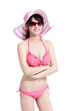 Beauty woman wear bikini happily Royalty Free Stock Photo