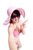 Beauty woman wear bikini happily Royalty Free Stock Photo