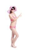 Beauty woman wear bikini pointing Royalty Free Stock Photography