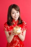 Beauty woman wear cheongsam Royalty Free Stock Photography