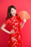 Beauty woman wear cheongsam Stock Photos