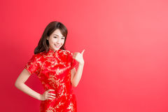 Beauty woman wear cheongsam royalty free stock image