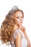 Beauty woman with wedding hairstyle and makeup Royalty Free Stock Images
