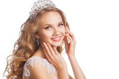 Beauty woman with wedding hairstyle and makeup Royalty Free Stock Photography