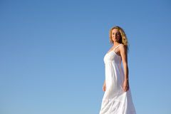 Beauty woman in white dress Royalty Free Stock Images