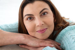 Beauty woman with white perfect smile looking at camera at home Royalty Free Stock Photos