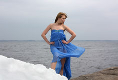 Beauty woman on the winter sea-side Royalty Free Stock Photo