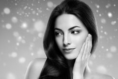 Beauty Woman Winter Snow face Portrait. Beautiful Spa model Girl royalty free stock image