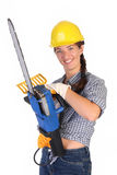 Beauty Woman With Chainsaw Stock Image