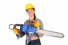 Beauty Woman With Chainsaw Royalty Free Stock Photography