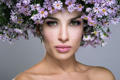 Beauty Woman With Flowers Royalty Free Stock Images