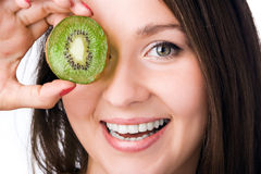 Beauty Woman With Kiwi Royalty Free Stock Photography