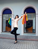 Beauty Woman With Shopping Bag Royalty Free Stock Images