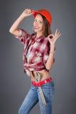 beauty woman worker studio portrait Royalty Free Stock Photo