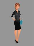 Beauty woman working black suit folder file Royalty Free Stock Photo