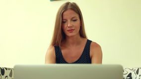 Beauty woman working on laptop stock footage