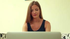 Beauty woman working on laptop stock footage