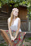 Beauty woman with a wreath on head Royalty Free Stock Image