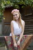 Beauty woman with a wreath on head Stock Photos