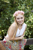 Beauty woman with a wreath on head Royalty Free Stock Photography