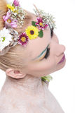 Beauty woman with wreath looks away Royalty Free Stock Photography