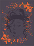 BEAUTY WOMEN BACKGROUND. Illustrated woman face with flower decorations Royalty Free Stock Image