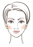 Beauty women face with makeup. Illustration Royalty Free Stock Image