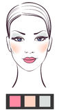 Beauty women face with makeup. Illustration Stock Photo