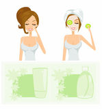 Beauty women getting facial mask set Royalty Free Stock Images