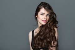 Beauty women with long healthy shiny hair. stock images
