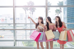 Beauty women in mall Stock Image