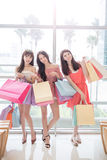 Beauty women in mall. Beauty women take shopping bag and smile happily in mall Stock Images