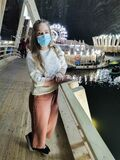 Beauty women with mask protect from coronavirus în cave