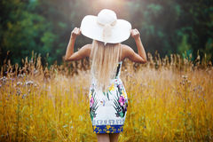 Beauty women Outdoors enjoying nature. Girl in a Royalty Free Stock Image