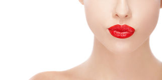 Beauty women with red lipstick Royalty Free Stock Photo