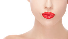 Beauty women with red lipstick Royalty Free Stock Images
