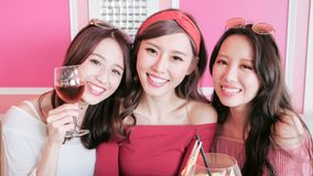 Women selfie in restaurant Stock Image