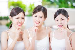 Beauty women smile happily stock images