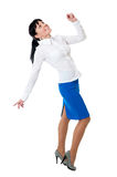 Beauty women in white shirt and blue skirt Royalty Free Stock Photo