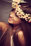 Beauty with wreath of flowers Royalty Free Stock Photography