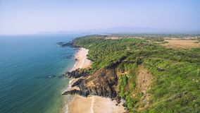 Beauty Xandrem beach aerial view landscape,. Goa touristic state in India Stock Photos
